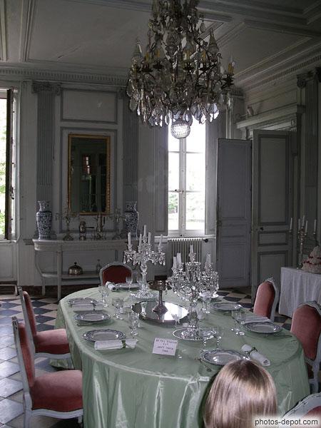 Salle à manger. Lustre en cristal de Bohème du XVIIIe