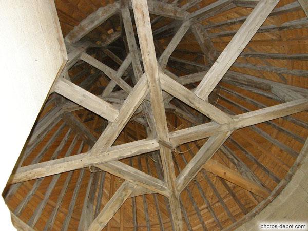 charpente du toit conique de la tour de la justice. Black Bedroom Furniture Sets. Home Design Ideas