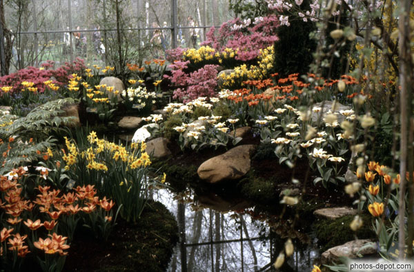 Petit cours d 39 eau dans jardin fleuri - Idee petit jardin fleuri brest ...