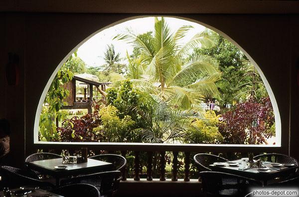 Tables De Restaurant Face Au Jardin Luxuriant Aux Singes