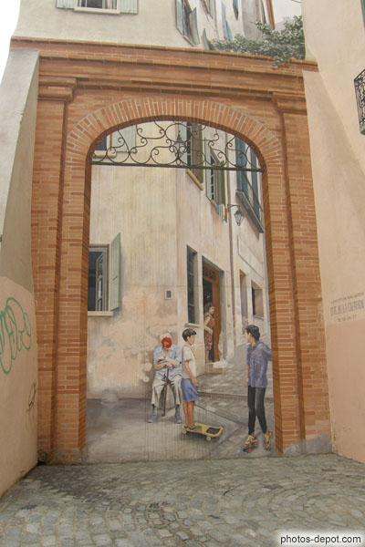 Peinture en trompe l 39 oeil sur mur de maison - Trompe l oeil peinture ...