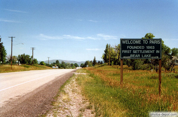 photo de Welcome to Paris founded 1863 first settlement in Bear lake